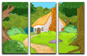 Rural Cartoon Forest Cabin Landscape 3 Split Panel Canvas Print - Canvas Art Rocks - 1