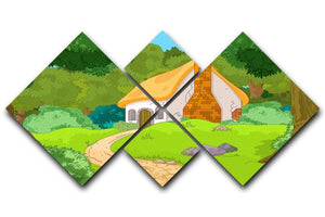 Rural Cartoon Forest Cabin Landscape 4 Square Multi Panel Canvas  - Canvas Art Rocks - 1