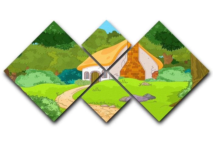 Rural Cartoon Forest Cabin Landscape 4 Square Multi Panel Canvas