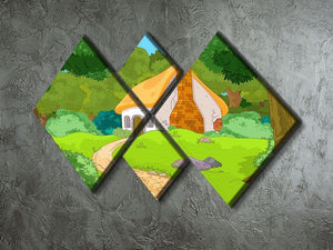 Rural Cartoon Forest Cabin Landscape 4 Square Multi Panel Canvas - Canvas Art Rocks - 2