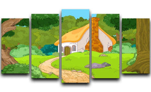 Rural Cartoon Forest Cabin Landscape 5 Split Panel Canvas  - Canvas Art Rocks - 1