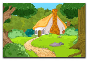 Rural Cartoon Forest Cabin Landscape Canvas Print or Poster  - Canvas Art Rocks - 1
