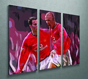 Ryan Giggs and David Beckham 3 Split Panel Canvas Print - Canvas Art Rocks - 2