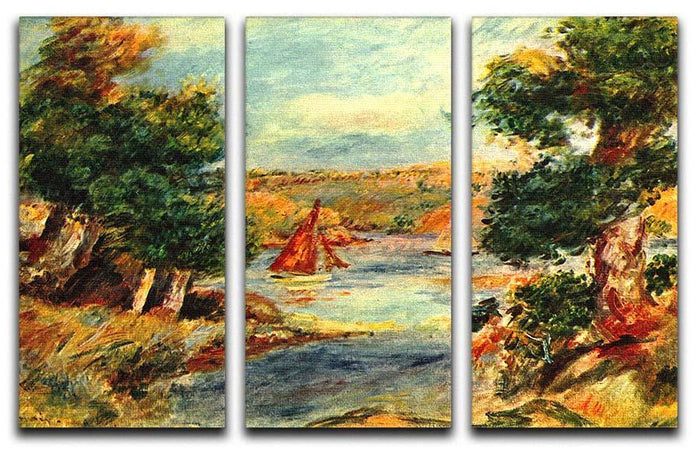 Sailing boats in Cagnes by Renoir 3 Split Panel Canvas Print