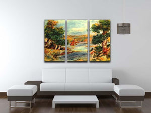 Sailing boats in Cagnes by Renoir 3 Split Panel Canvas Print - Canvas Art Rocks - 3