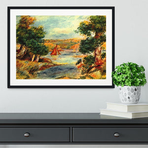Sailing boats in Cagnes by Renoir Framed Print - Canvas Art Rocks - 1