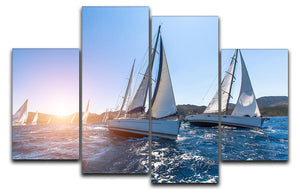 Sailing in the wind through the waves at the Sea 4 Split Panel Canvas  - Canvas Art Rocks - 1