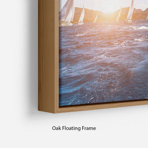 Sailing in the wind through the waves at the Sea Floating Frame Canvas