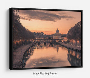 Saint Angelo Bridge and Tiber River in the sunset Floating Frame Canvas