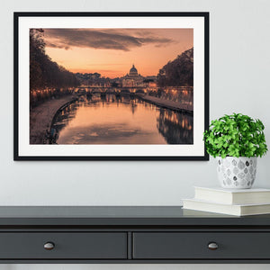 Saint Angelo Bridge and Tiber River in the sunset Framed Print - Canvas Art Rocks - 1