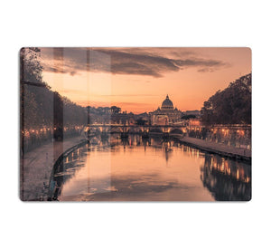 Saint Angelo Bridge and Tiber River in the sunset HD Metal Print