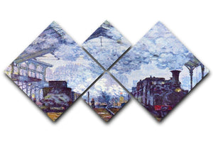 Saint Lazare station in Paris arrival of a train by Monet 4 Square Multi Panel Canvas  - Canvas Art Rocks - 1