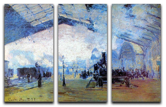 Saint Lazare station in Paris by Monet Split Panel Canvas Print