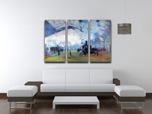 Saint Lazare station in Paris by Monet Split Panel Canvas Print - Canvas Art Rocks - 4