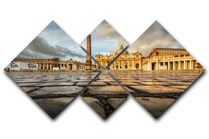 Saint Peter Basilica in the Morning 4 Square Multi Panel Canvas  - Canvas Art Rocks - 1