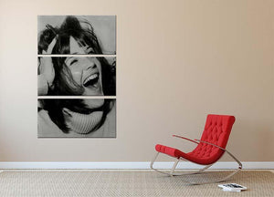 Sandie Shaw laughing 3 Split Panel Canvas Print - Canvas Art Rocks - 2