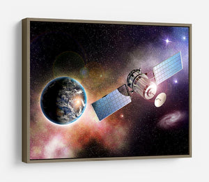 Satellite orbiting the earth in the outer space HD Metal Print