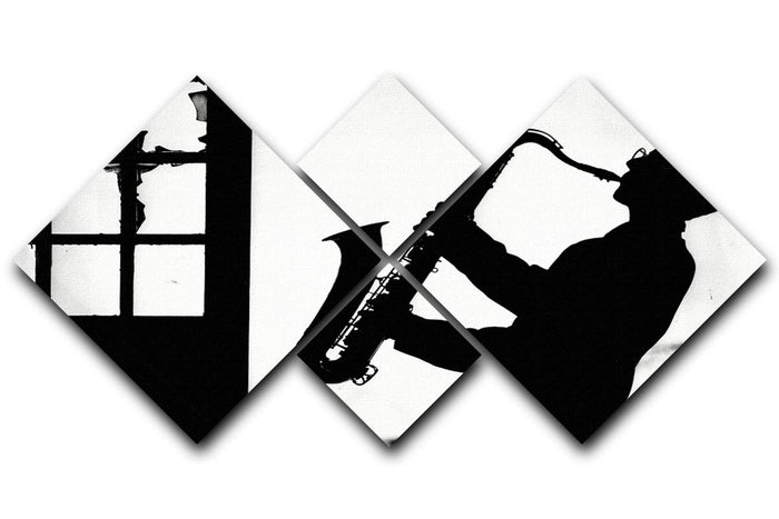 Saxophone player 4 Square Multi Panel Canvas