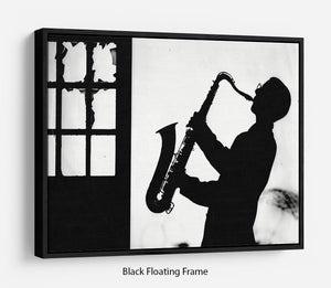 Saxophone player Floating Frame Canvas - Canvas Art Rocks - 1