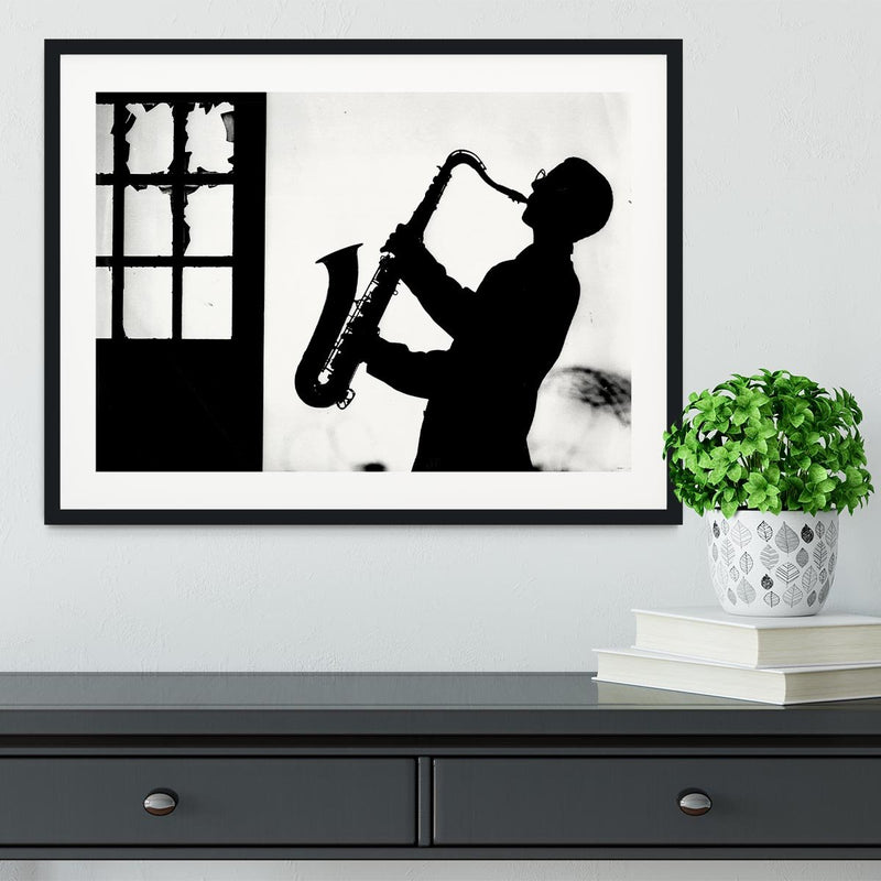 Saxophone player Framed Print - Canvas Art Rocks - 1