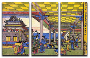 Scene in blue by Hokusai 3 Split Panel Canvas Print - Canvas Art Rocks - 1