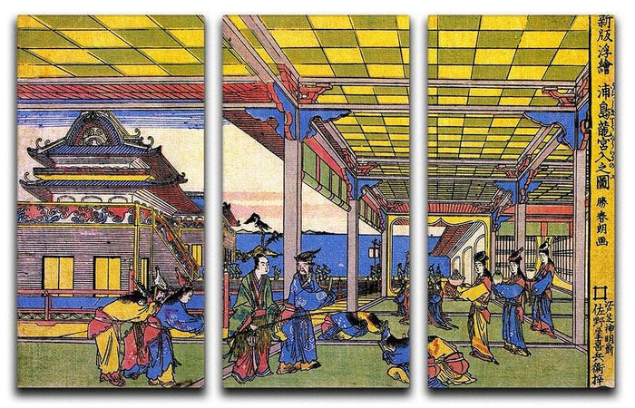 Scene in blue by Hokusai 3 Split Panel Canvas Print