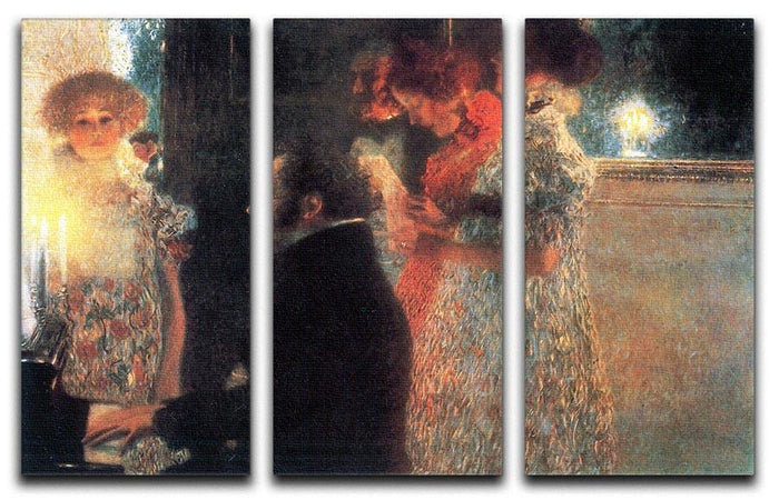 Schubert at the piano by Klimt 3 Split Panel Canvas Print