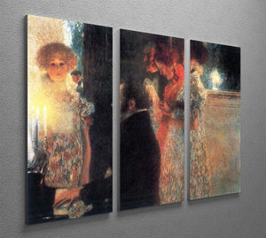 Schubert at the piano by Klimt 3 Split Panel Canvas Print - Canvas Art Rocks - 2