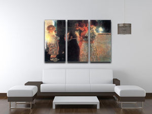Schubert at the piano by Klimt 3 Split Panel Canvas Print - Canvas Art Rocks - 3