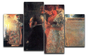 Schubert at the piano by Klimt 4 Split Panel Canvas  - Canvas Art Rocks - 1
