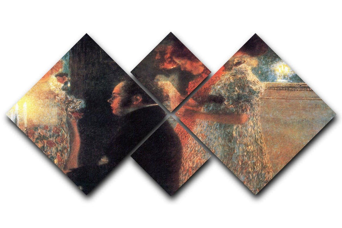 Schubert at the piano by Klimt 4 Square Multi Panel Canvas