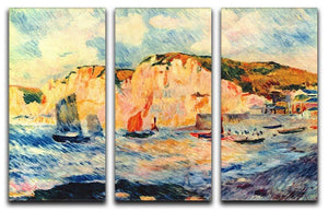 Sea and cliffs by Renoir 3 Split Panel Canvas Print - Canvas Art Rocks - 1