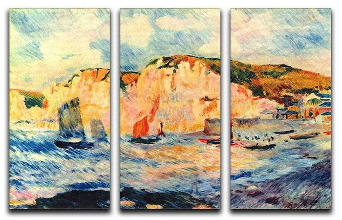 Sea and cliffs by Renoir 3 Split Panel Canvas Print