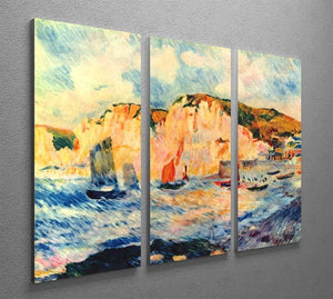 Sea and cliffs by Renoir 3 Split Panel Canvas Print - Canvas Art Rocks - 2