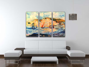 Sea and cliffs by Renoir 3 Split Panel Canvas Print - Canvas Art Rocks - 3