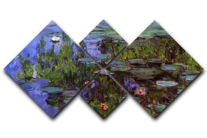 Sea roses by Monet 4 Square Multi Panel Canvas