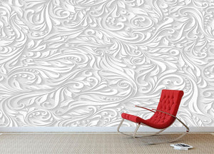 Seamless abstract white floral Wall Mural Wallpaper - Canvas Art Rocks - 2