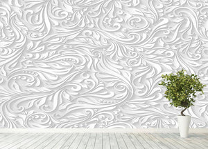 Seamless abstract white floral Wall Mural Wallpaper - Canvas Art Rocks - 4