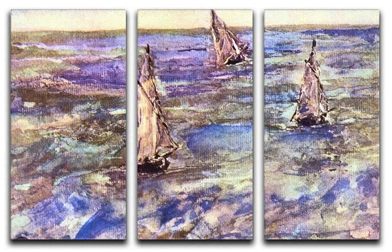 Seascape 1873 by Manet 3 Split Panel Canvas Print - Canvas Art Rocks - 1