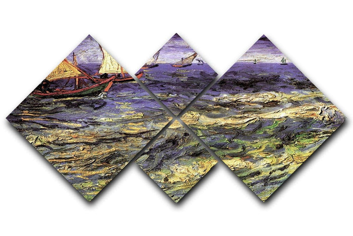 Seascape at Saintes-Maries by Van Gogh 4 Square Multi Panel Canvas