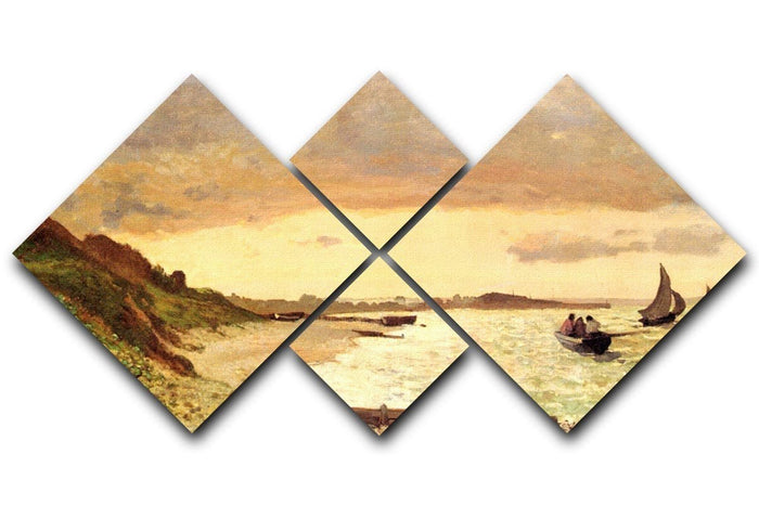 Seaside at Sainte Adresse by Monet 4 Square Multi Panel Canvas