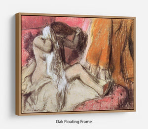 Seated female nude on a chaise lounge by Degas Floating Frame Canvas - Canvas Art Rocks - 9