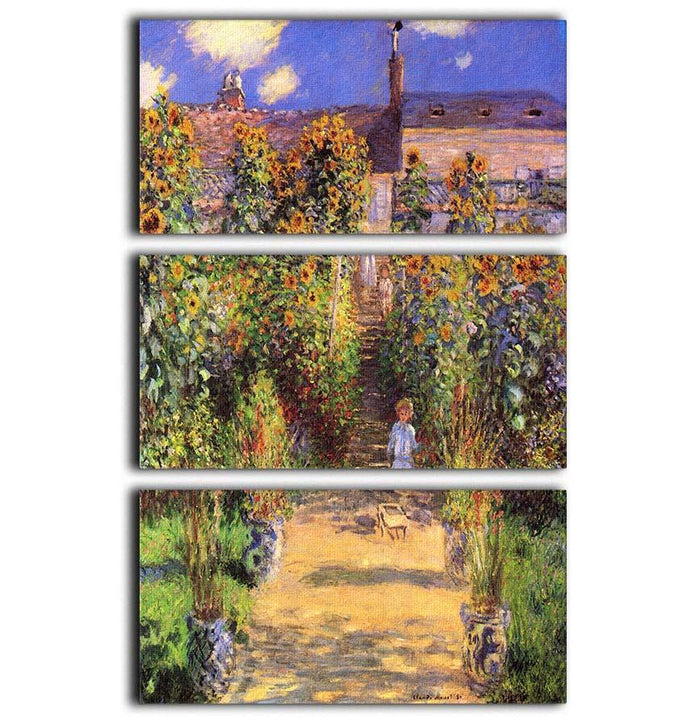 Seine bank at Vetheuil by Monet 3 Split Panel Canvas Print