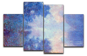 Seine in Morning by Monet 4 Split Panel Canvas  - Canvas Art Rocks - 1