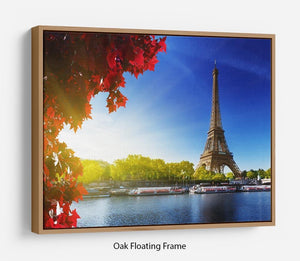Seine in Paris with Eiffel tower Floating Frame Canvas