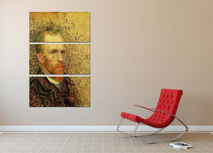 Self-Portrait 5 by Van Gogh 3 Split Panel Canvas Print - Canvas Art Rocks - 2