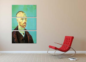 Self-Portrait Dedicated to Paul Gauguin by Van Gogh 3 Split Panel Canvas Print - Canvas Art Rocks - 2