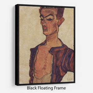 Self-Portrait a grimace scissoring by Egon Schiele Floating Frame Canvas - Canvas Art Rocks - 1