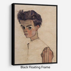 Self-Portrait by Egon Schiele Floating Frame Canvas - Canvas Art Rocks - 1