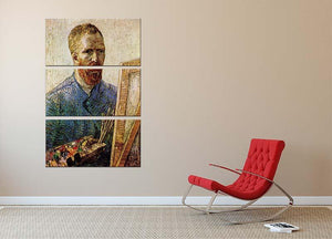 Self-Portrait in Front of the Easel by Van Gogh 3 Split Panel Canvas Print - Canvas Art Rocks - 2